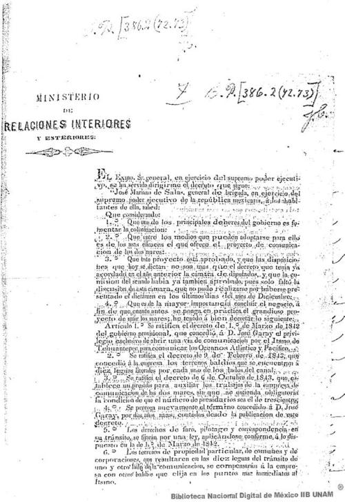 Imagen de Decreto del Ministerio de Relaciones Interiores y Esteriores para abrir la vía de comunicación por el Istmo de Tehuantepec