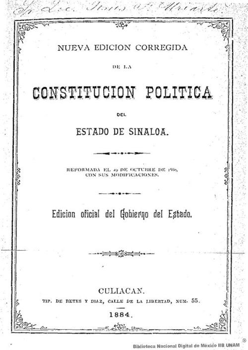 Imagen de Nueva edición corregida de la constitución política del estado de Sinaloa: reformada el 29 de octubre de 1880 con sus modificaciones