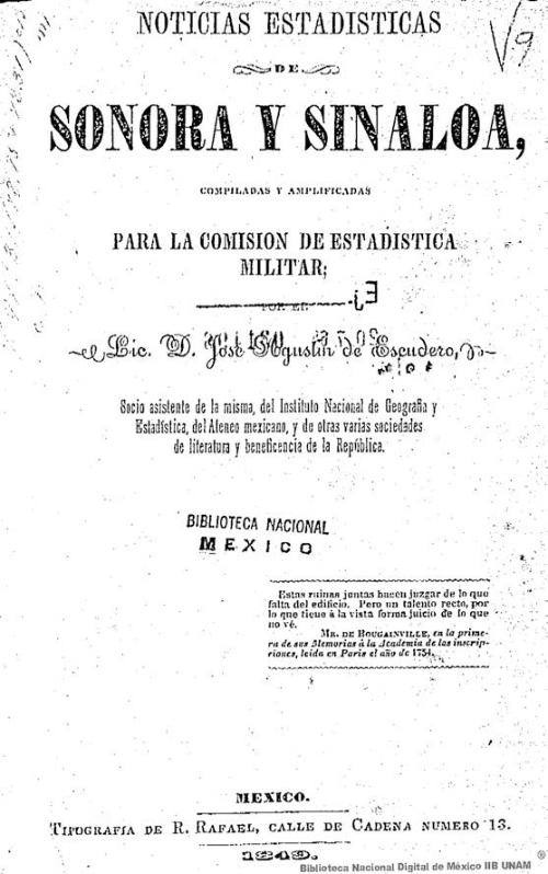 Imagen de Noticias estadísticas de Sonora y Sinaloa compiladas y amplificadas para la Comisión de Estadística Militar