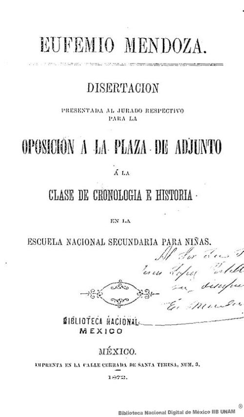 Imagen de Disertación presentada al jurado respectivo para la oposición a la plaza de adjunto á la clase de cronología e historia en la Escuela Nacional Secundaria para Niñas