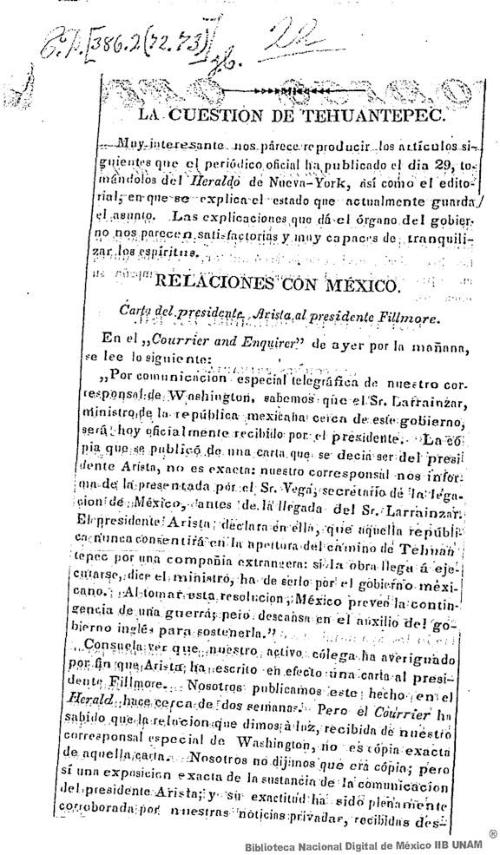 Imagen de La cuestion de Tehuantepec