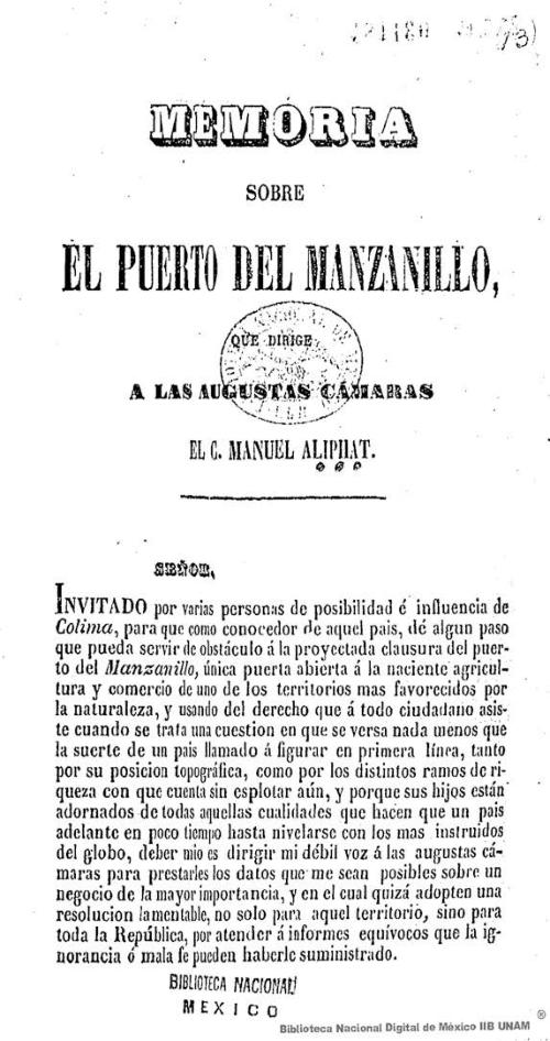 Imagen de Memoria sobre el Puerto del Manzanillo, que dirige a las agustas cámaras el C Manuel Aliphat