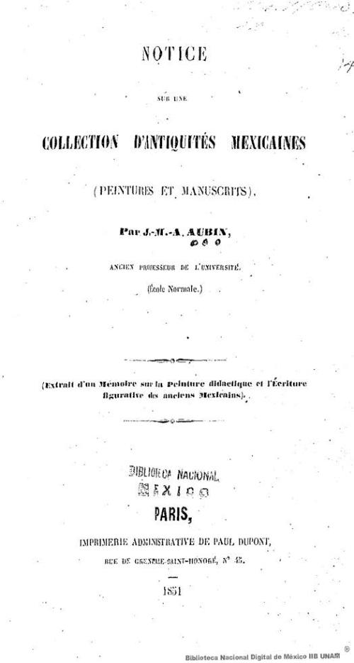 Imagen de Notice sur une collection dantiquités mexicaines (Peintures et manuscrits)