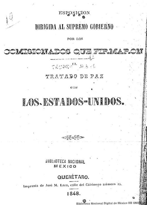 Imagen de Esposicion dirigida al Supremo Gobierno por los comisionados que firmaron el Tratado de paz con los Estados-Unidos