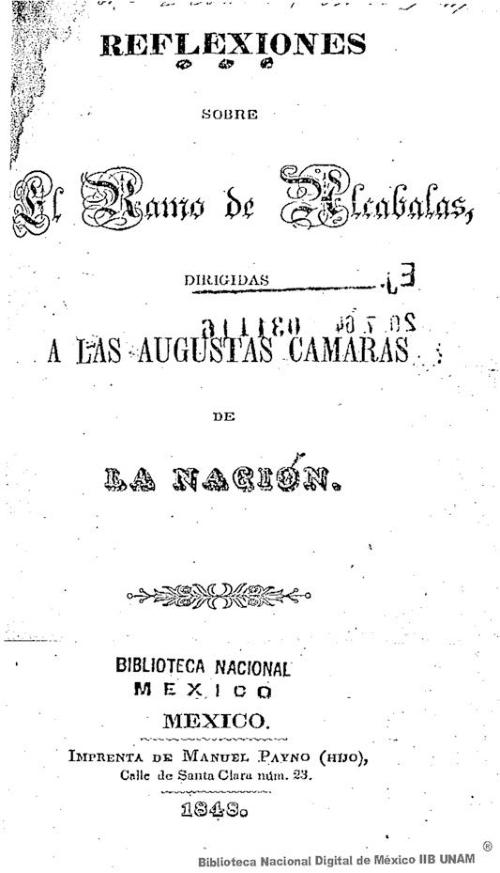 Imagen de Reflexiones sobre el ramo de alcabalas, dirigidas a las augustas cámaras de la nación