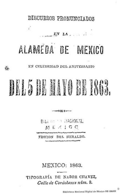 Imagen de Discursos pronunciados en la Alameda de México en celebridad del aniversario del 5 de Mayo de 1863