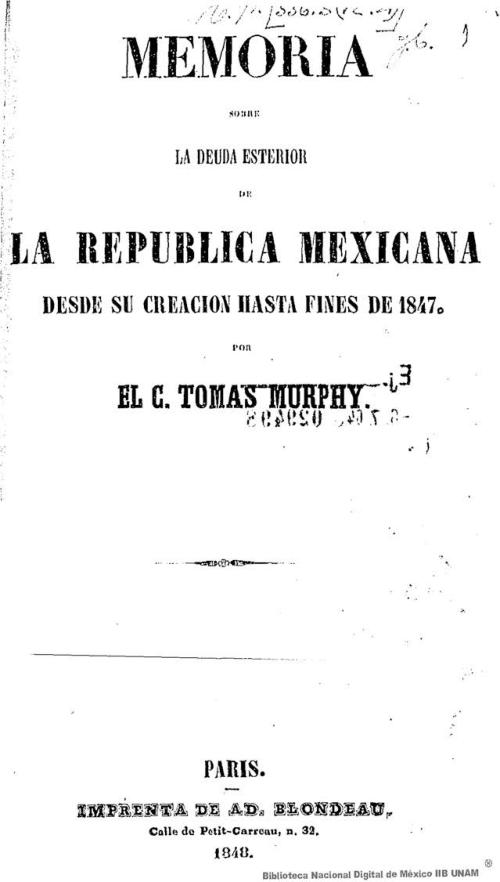 Imagen de Memoria sobre la deuda esterior de la República Mexicana: desde su creación hasta fines de 1847