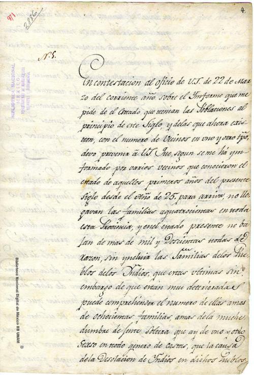 Imagen de Carta sobre la población que existía y existe en la provincia de Sinaloa