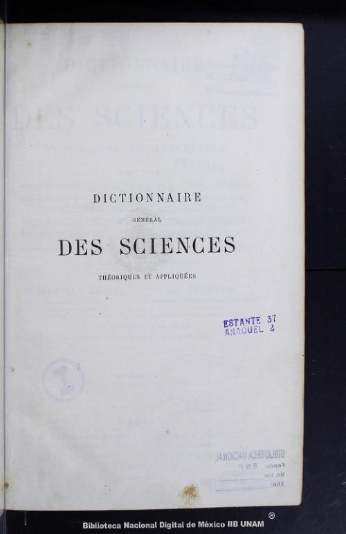 Imagen de Dictionnaire général des sciences théoriques et appliquées