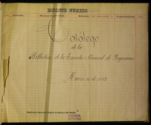 Imagen de Catálogo de la Biblioteca de la Escuela Nacional de Yngenieros