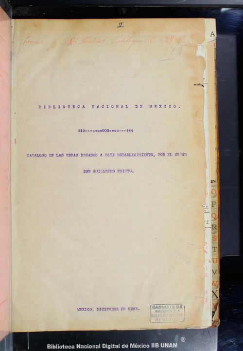 Imagen de Biblioteca Nacional de México Catálogo de las obras donadas a este establecimiento, por el señor Don Guillermo Prieto