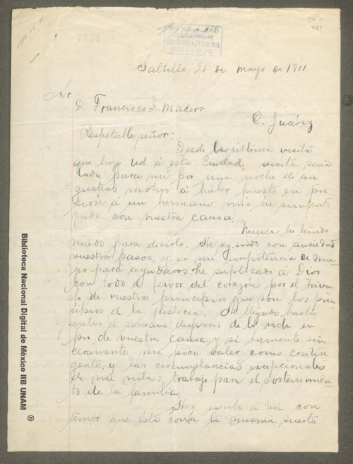 Imagen de Carta de Ana María Berlanga sobre la entrada a la ciudad de México