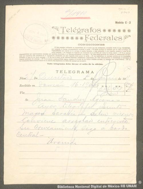 Imagen de Telegrama de Manuel Urquidi a Juan Sánchez Azcona informando que envió un telegrama a Ricardo Flores Magón y a Juan Sarabia
