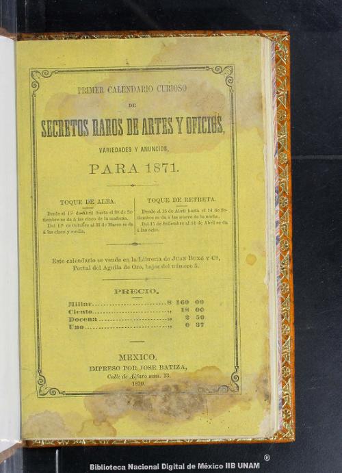 Imagen de Primer calendario curioso de secretos raros de artes y oficios, variedades y anuncios para 1871