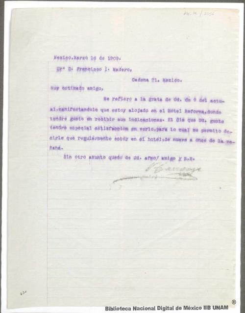 Imagen de Carta de Francisco I. Madero a Venustiano Carranza participándole que ha salido muy pronto de San Pedro y no se ha ocupado de la función del Club