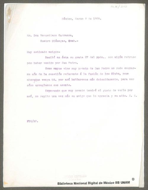 Imagen de Carta de Venustiano Carranza a Franciso I. Madero indicándole que está alojado en el Hotel Reforma, en donde lo espera