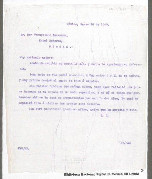 Imagen de Carta de Francisco I. Madero a Venustiano Carranza informándole que lo encontrará en su hotel entre 9 y 11 de la mañana