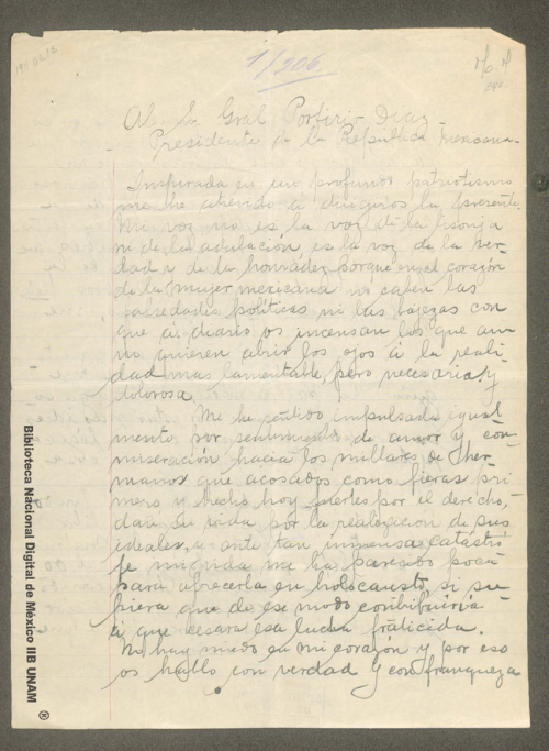 Imagen de Carta a Porfirio Díaz, opina que su error más grande ha sido su perpetuidad en el poder