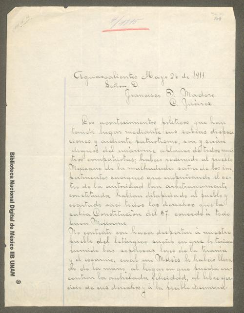 Imagen de Carta de Jesús R. Ramos a Francisco I. Madero felicitándolo por tratar de reinstalar la Constitución de 1857
