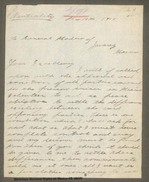 Imagen de Carta de J. L. Goodwin, se ofrece como voluntario para mediar entre las partes opositoras