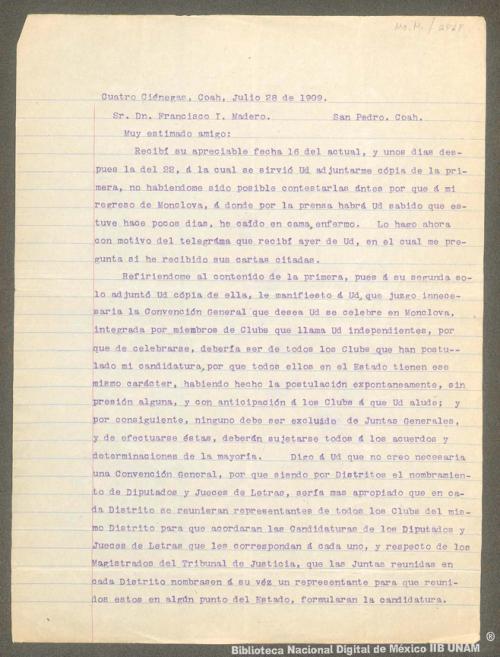 Imagen de Carta de Venustiano Carranza a Francisco I. Madero para aclarar algunos datos sobre sus cartas, manifestándole que juzga innecesaria la Convención General de Monclova