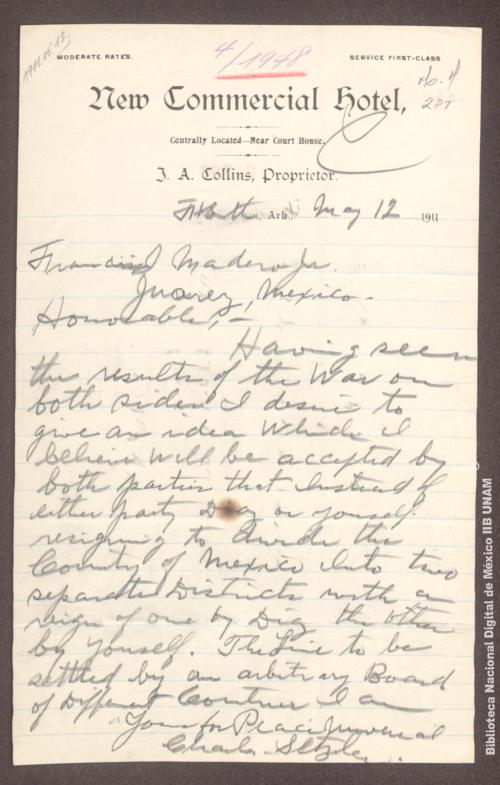 Imagen de Carta de Charles Setzler, le recomienda dividir la nación en dos partes