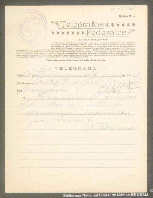 Imagen de Telegrama de Venustiano Carranza a Francisco I. Madero informándole que no se entiende el mensaje y solicitando que mejor se explique por carta