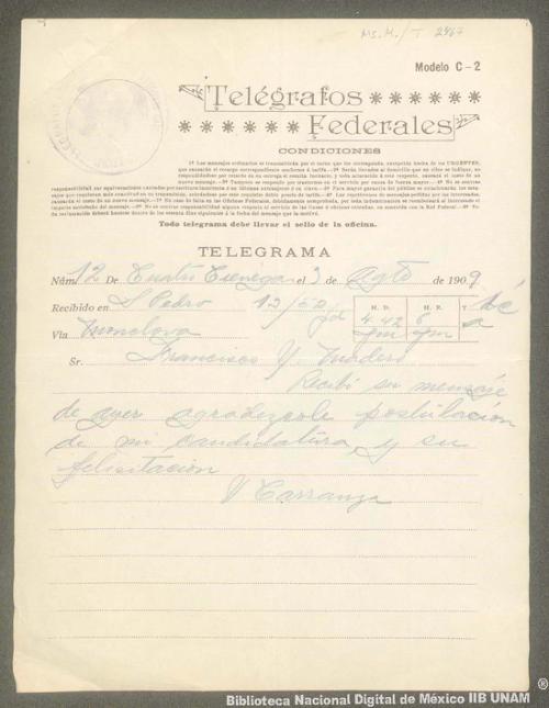 Imagen de Carta de Venustiano Carranza a Francisco I. Madero en la que notifica la recepción de su mensaje y le agradece por la postulación de su candidatura