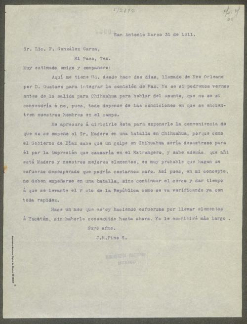 Imagen de Carta de José María Pino Suárez al licenciado Federico González Garza