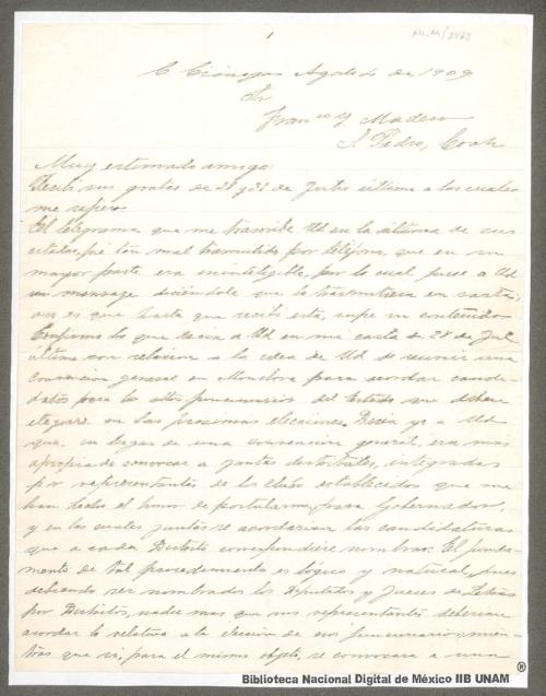 Imagen de Carta de Venustiano Carranza a Francisco I. Madero en la que señala que en lugar de la Convención General en Monclova se convoque a Juntas distritales integradas por representantes de los Clubes establecidos