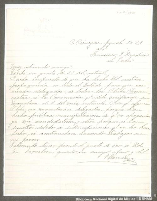 Imagen de Carta de Venustiano Carranza a Francisco I. Madero sobre la propaganda para que concurran delegados de todos los Clubes Carrancistas a la Convención de Monclova