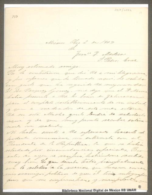 Imagen de Carta de Venustiano Carranza a Francisco I. Madero haciéndole saber que está enterado de su mejora de salud