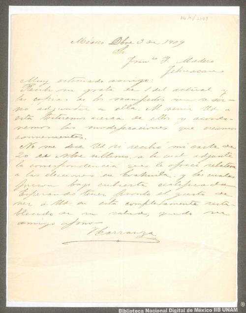Imagen de Carta de Venustiano Carranza a Francisco I. Madero indicándole que recibió las copias de los manifiestos que le adjuntó en su carta