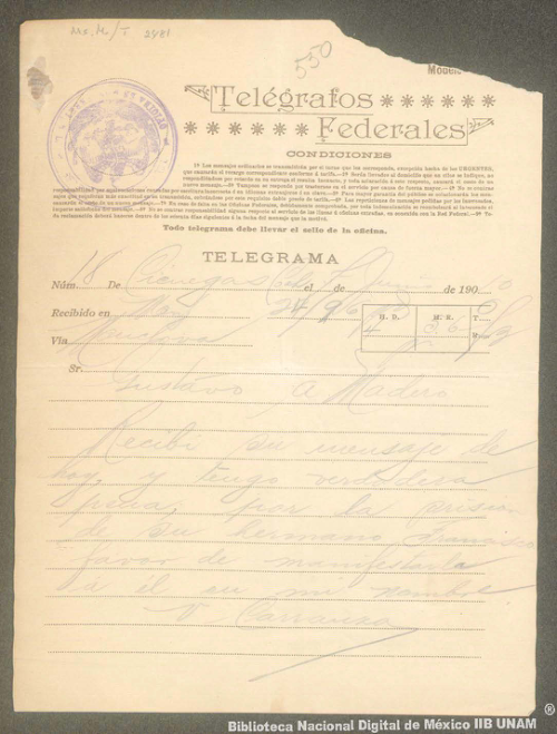 Imagen de Telegrama de Venustiano Carranza a Gustavo A. Madero manifestándole su pena por el encarcelamiento de Francisco I. Madero