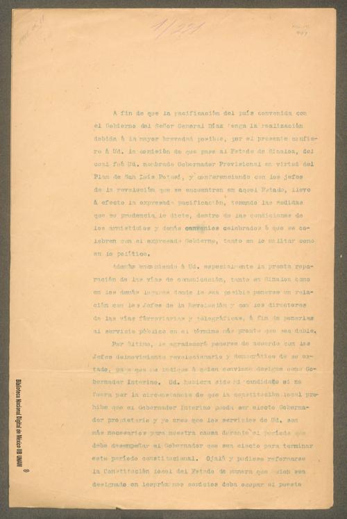 Imagen de Carta de Francisco I. Madero a Manuel Bonilla en la que le recomienda la pacificación del Estado de Sinaloa