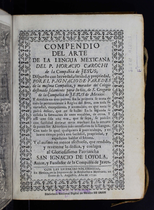 Imagen de Compendio del arte de la lengua mexicana