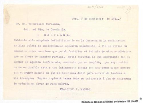 Imagen de Carta de Francisco I. Madero a Venustiano Carranza sobre el apoyo que debe brindarse a la candidatura de Pino Suárez