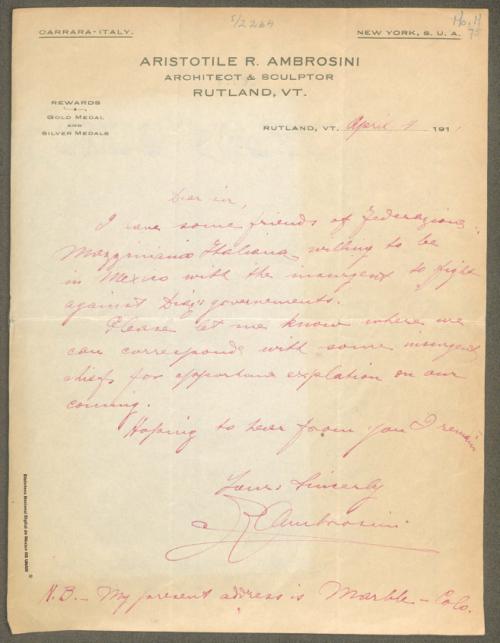 Imagen de Carta de Aristotile R. Ambrosini, solicita información