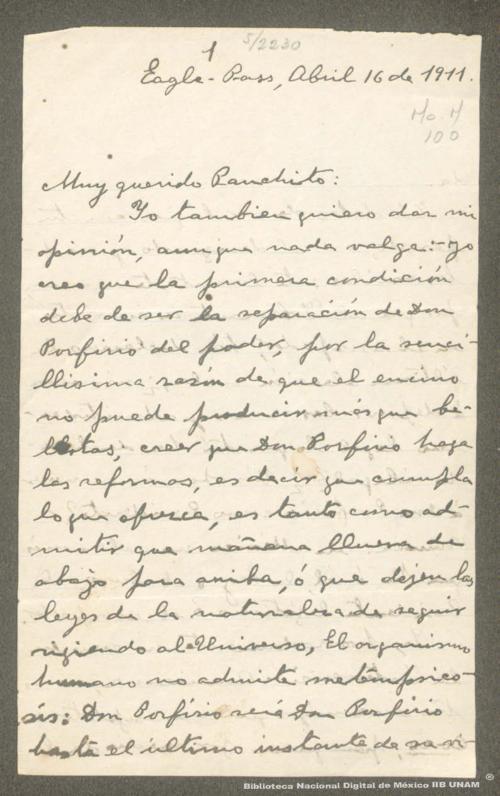 Imagen de Carta de Adrián Aguirre Benavides, Porfirio Díaz debe renunciar al poder