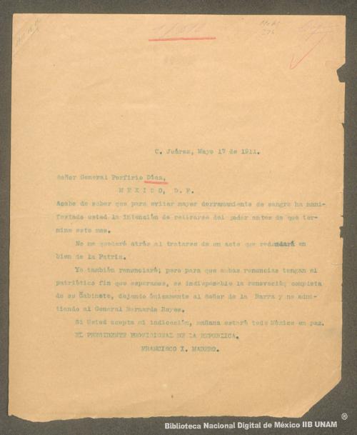 Imagen de Carta de Francisco I. Madero al general Porfirio Díaz sobre su renuncia